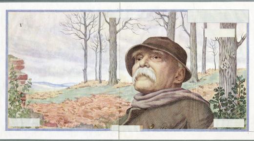 Projet de billet Clemenceau, première version de 1957 (recto)